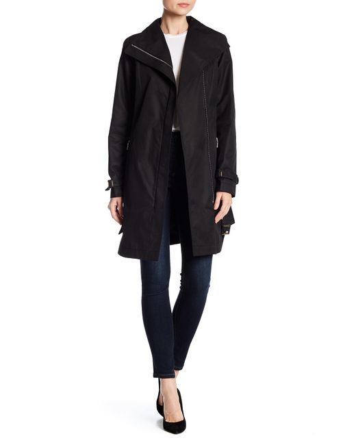 Tahari - Black Asymmetrical Trench Coat - Lyst