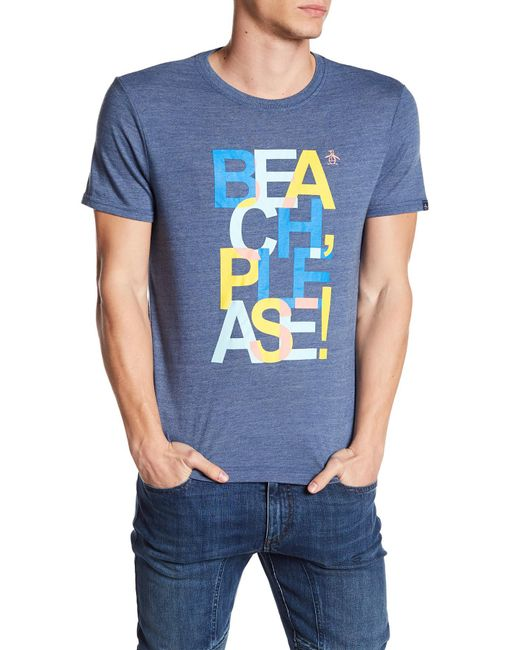 Original Penguin - Blue Beach Please Graphic T-shirt for Men - Lyst