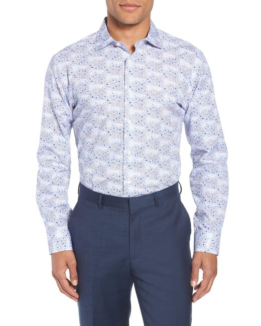 John W. Nordstrom - Blue (r) Trim Fit Floral Dress Shirt for Men - Lyst