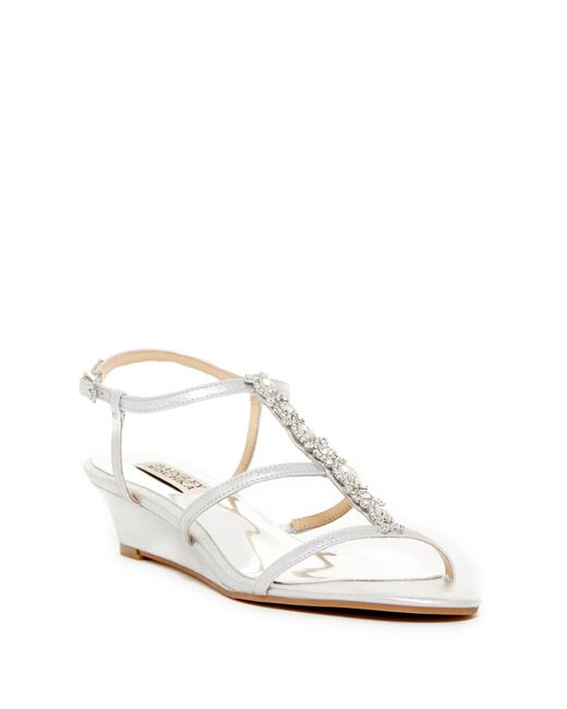 Badgley Mischka | White Carley Embellished Wedge Sandal - Wide Width Available | Lyst