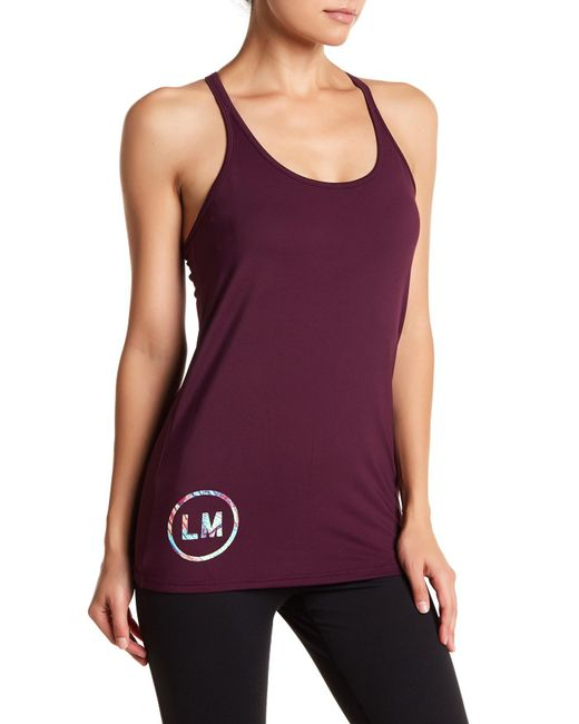 Lyst reebok les mills built in sports bra tank in purple for Shirts with built in sports bra