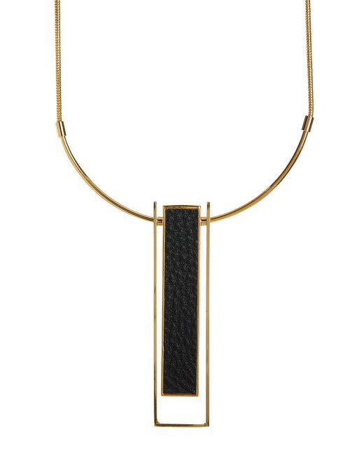 Trina Turk - Metallic Leather Drop Pendant Necklace - Lyst
