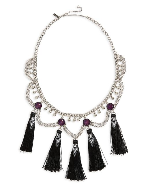 TOPSHOP - Metallic Mega Tassel Drop Collar Necklace - Lyst