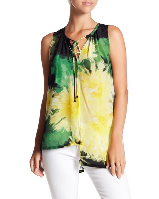 Tracy Reese   Green Sheer Silk Hi-lo Blouse   Lyst