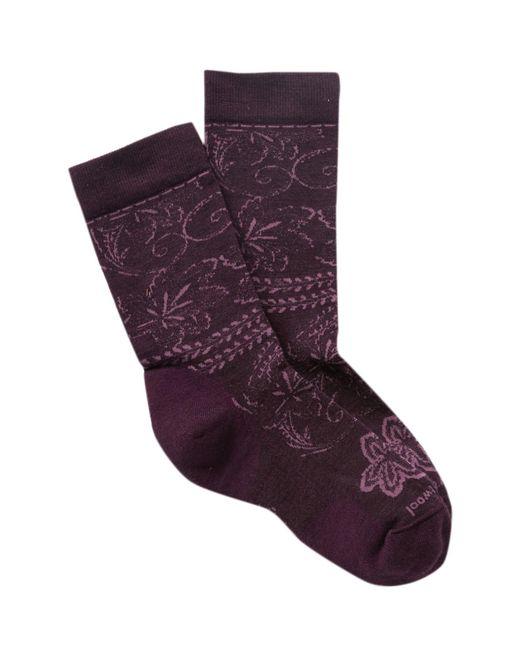 Smartwool - Purple Floral Scroll Wool Blend Crew Socks - Lyst