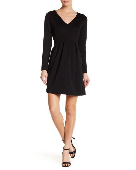 Joe Fresh - Black V-neck Long Sleeve Pleated Dress - Lyst