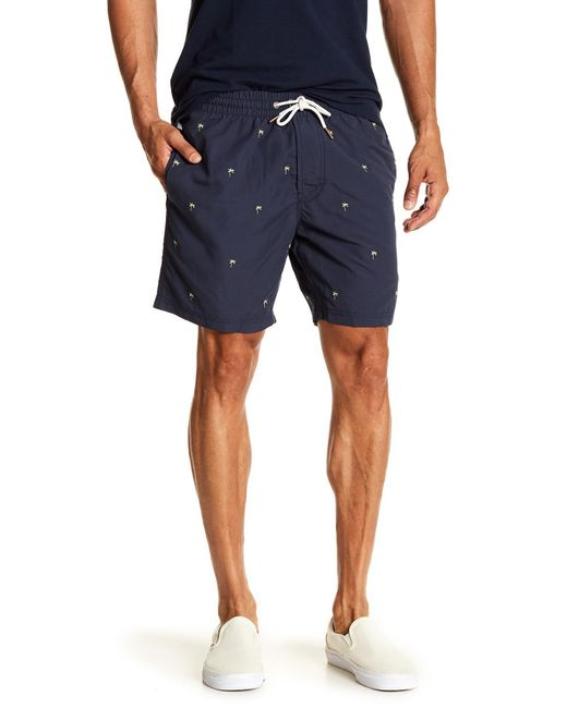 "Barney Cools - Blue Basic 17"" Palm Tree Embroidery Beach Shorts for Men - Lyst"