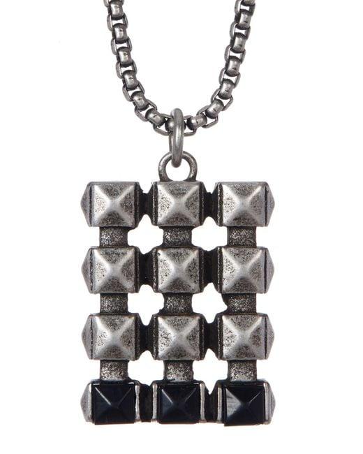 Steve Madden - Metallic Studded Dogtag Necklace - Lyst