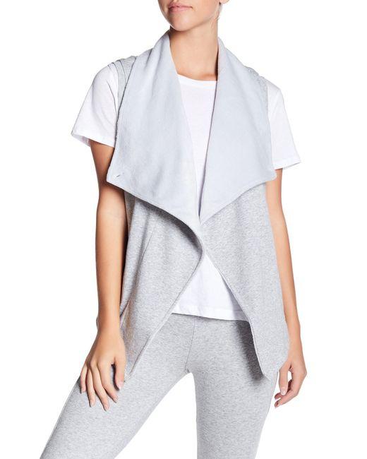 Ugg - White Roz Faux Fur Lined Asymmetrical Drape Vest - Lyst
