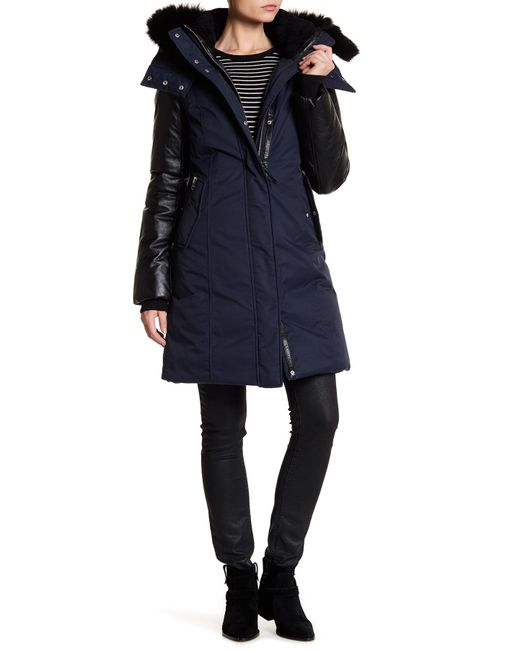 Mackage | Blue Kerry Genuine Fur Trim Contrast Sleeve Coat | Lyst
