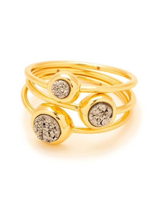 Gorjana - Metallic Silver Druzy Astoria Ring - Set Of 3 - Size 7 - Lyst
