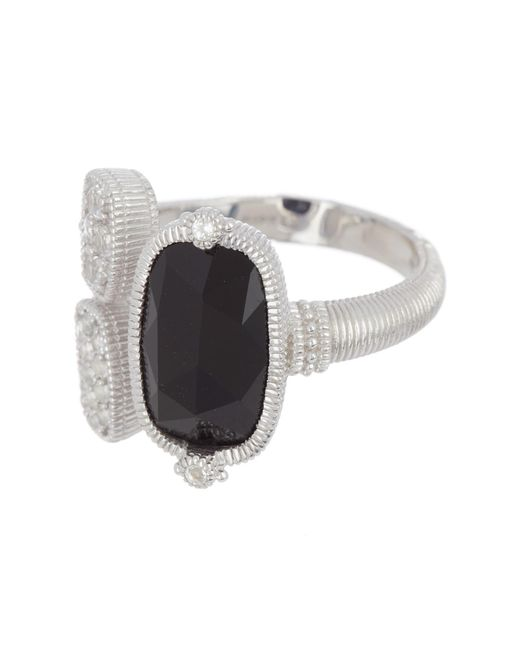 Judith Ripka - Metallic Sterling Silver Gold Coast Gemstone & Double Pave Station Ring - Size 7 - Lyst