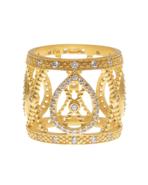 Freida Rothman   Metallic 14k Gold Plated Sterling Silver Open Cz Pave Filigree Ring - Size 7   Lyst