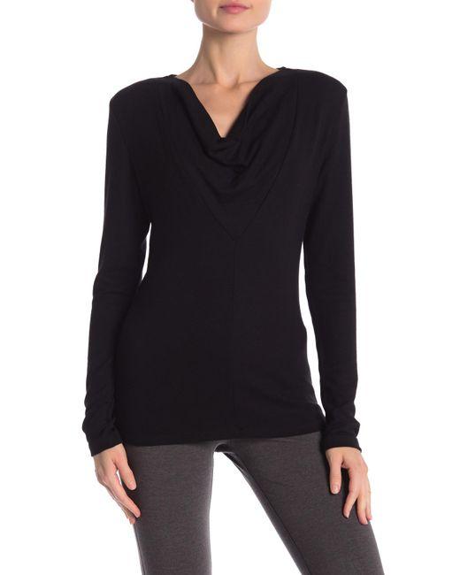 James Perse - Black Cowl Neck Long Sleeve Shirt - Lyst