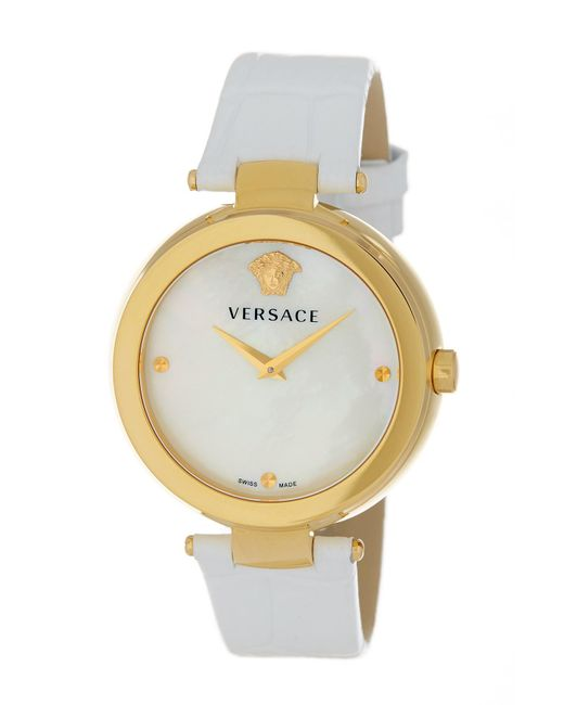 Versace - White Women's Helix Leather Strap Watch - Lyst