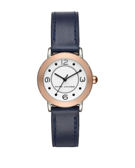 Marc Jacobs - Blue Women's Riley Leather Strap Watch, 28mm - Lyst