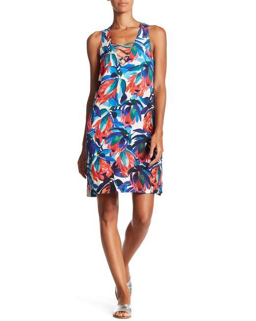 Fifteen Twenty   Blue Crisscross Floral Tank Dress   Lyst