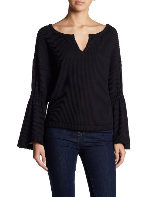 Free People - Black Dahlia Thermal Knit Sweater - Lyst