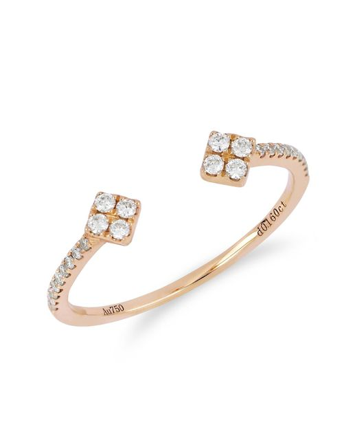 Bony Levy - Metallic 18k Rose Gold Pave Diamond Detail Diamond Ended Open Cuff Ring - 0.16 Ctw - Lyst
