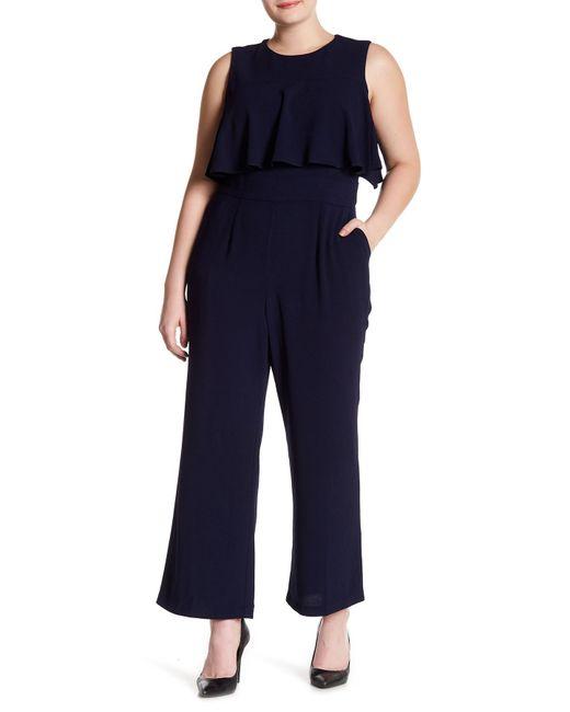 Vince Camuto - Blue Bodice Crepe Ruffle Jumpsuit (plus Size) - Lyst
