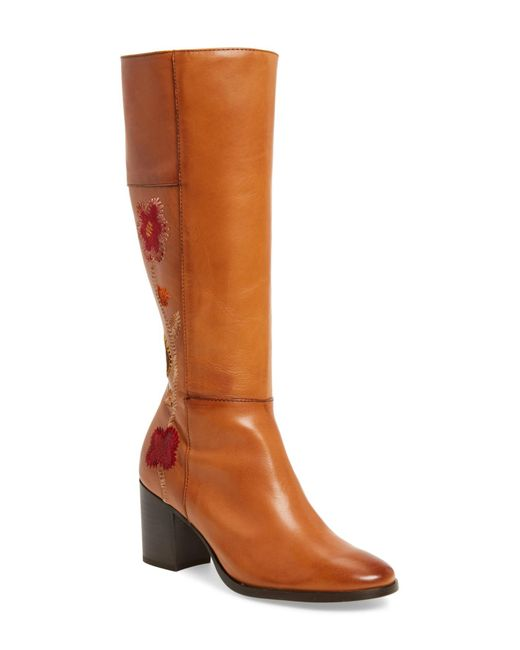 Frye - Brown Nova Floral Embroidered Knee High Boot - Lyst