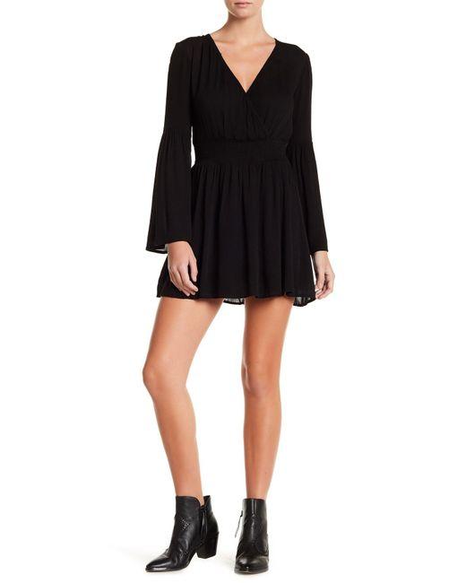 Love, Fire | Black Smocked Waist Bell Sleeve Dress | Lyst