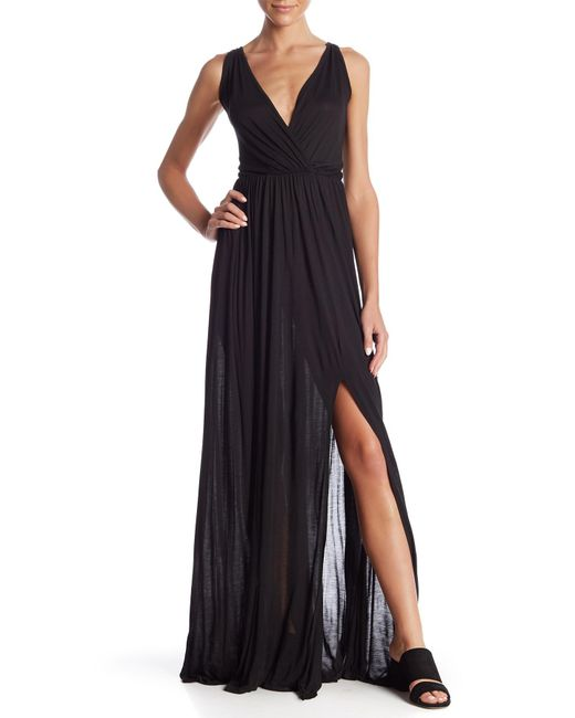 Go Couture - Black Empire Waist Slit Maxi Dress - Lyst