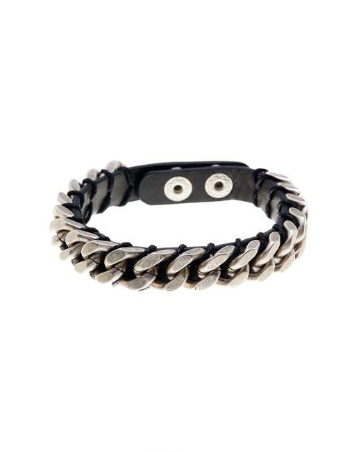 Steve Madden - Black Chain Detail Leather Bracelet for Men - Lyst
