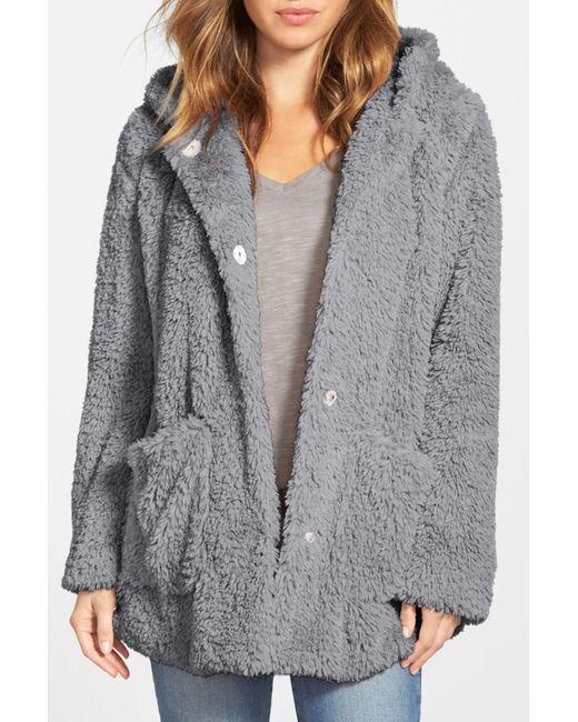 Kenneth Cole - Gray 'teddy Bear' Faux Fur Hooded Coat - Lyst