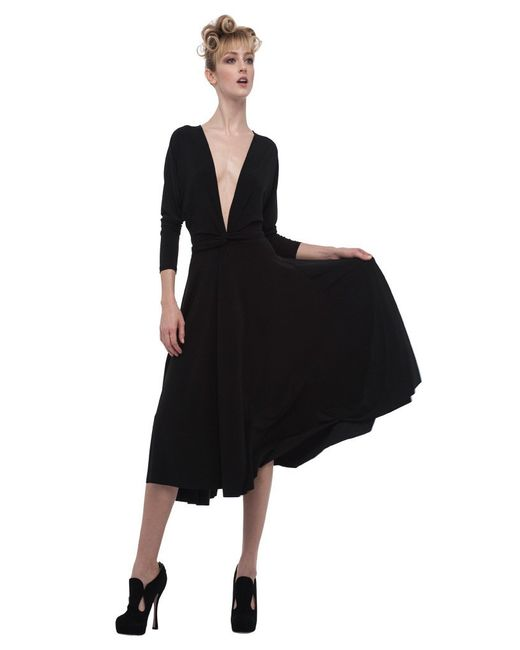 Norma Kamali | Black Dolman Front Back Wrap Flair Dress | Lyst