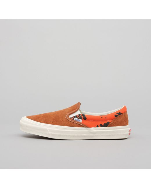 9d12588bb976af Vans - X Modernica Og Classic Slip On Lx In Leather Brown hawaiian for Men  ...