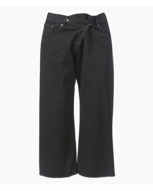 MM6 by Maison Martin Margiela | Black Offset Front Closure Jeans | Lyst