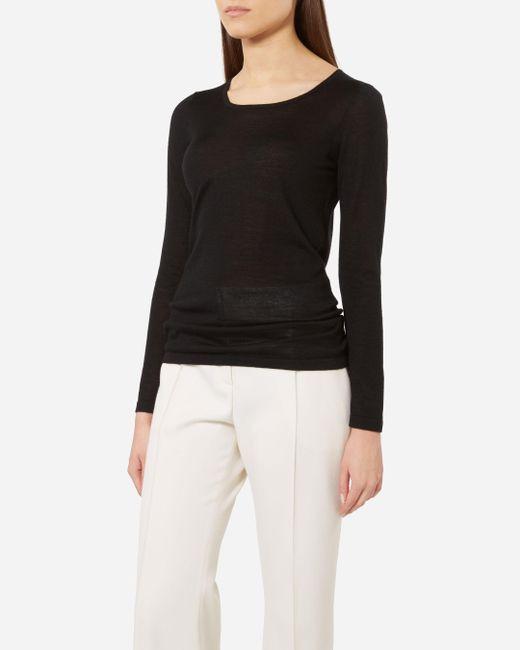 N.Peal Cashmere   Black Super Fine Long Sleeve Cashmere Top   Lyst
