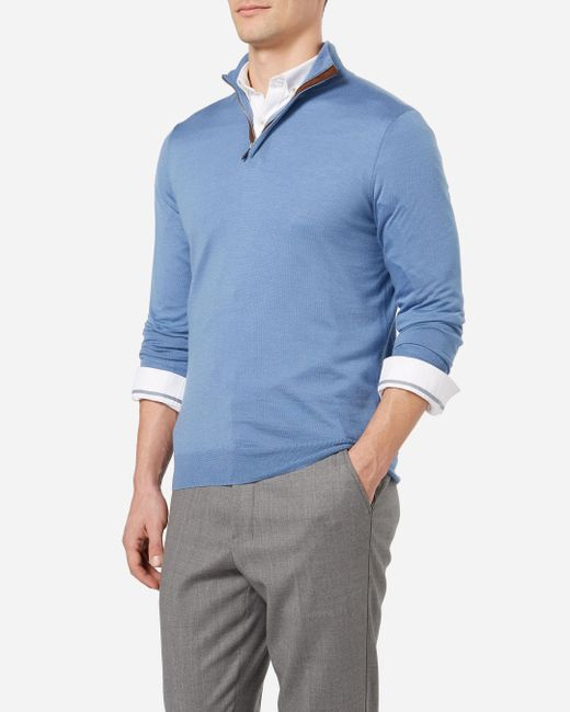 N.Peal Cashmere | Blue The Regent Fine Gauge Half Zip Sweater for Men | Lyst