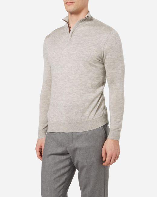 N.Peal Cashmere   Gray The Regent Fine Gauge Half Zip Sweater for Men   Lyst