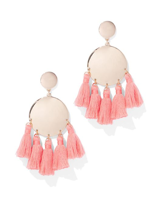 New York & Company - Pink Tassel-accent Disc Drop Earring - Lyst