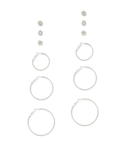 New York & Company - Multicolor 6-piece Silvertone Post & Hoop Earring Set - Lyst