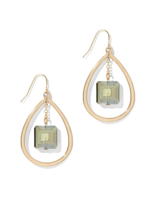 New York & Company - Multicolor Goldtone Oval Drop Earring - Lyst