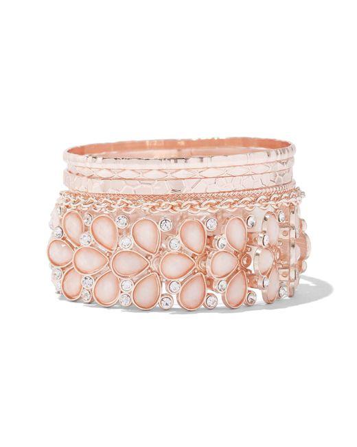 New York & Company - Pink 5-piece Goldtone Bangle Bracelet Set - Lyst
