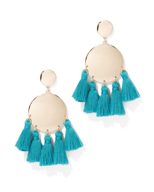 New York & Company - Blue Tassel-accent Disc Drop Earring - Lyst