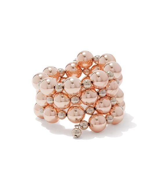 New York & Company - Pink Rose Goldtone Beaded Coil Bracelet - Lyst