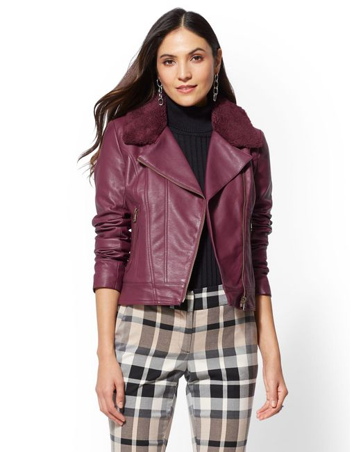 New York & Company - Purple Maroon Faux Sherpa-lined Moto Jacket - Lyst