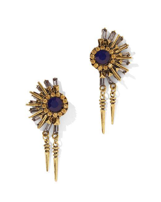 New York & Company - Multicolor Goldtone Sunburst Drop Earring - Lyst