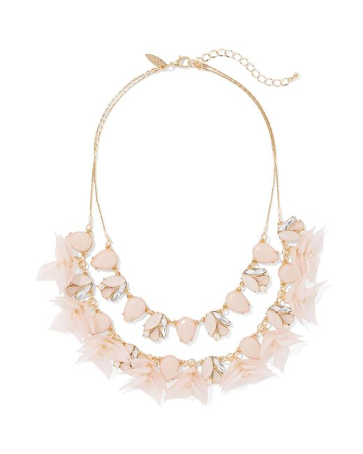 New York & Company - Pink 2-row Goldtone Floral Statement Necklace - Lyst
