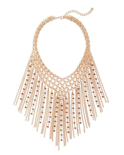 New York & Company - Brown Goldtone Beaded Fringe Necklace - Lyst