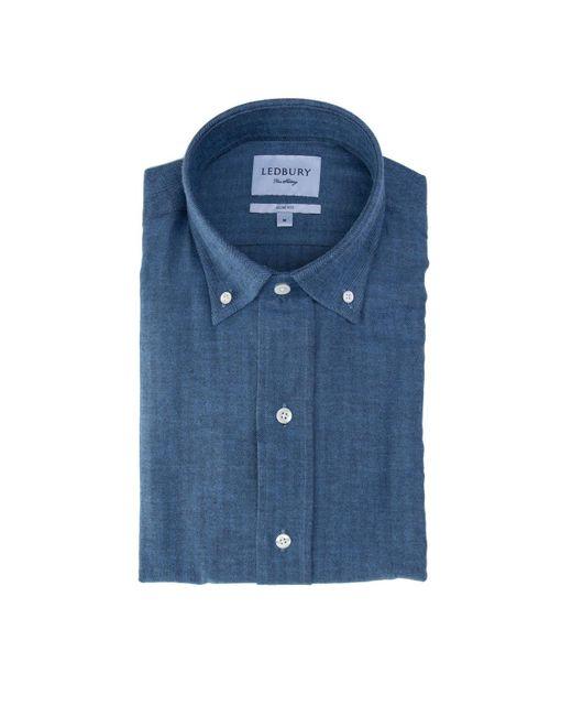 Ledbury   Blue The Jeffers Herringbone Shirt for Men   Lyst