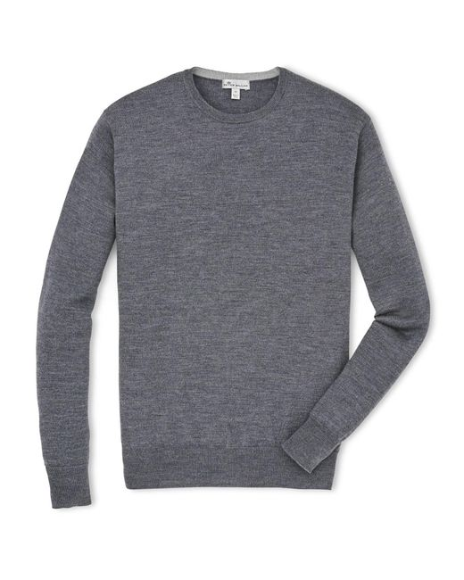 Peter Millar Gray Crown Soft Merino Crew Neck Sweater for men