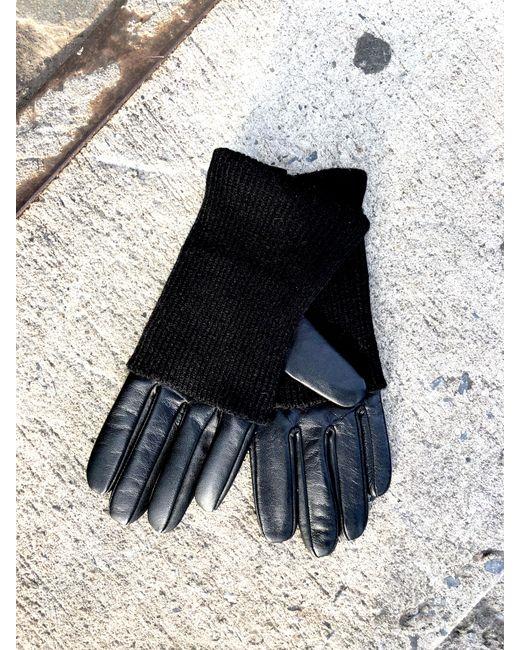 OAK - Black Knit Turnover Leather Glove - Lyst