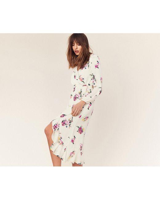 2391e10e3ebe Oasis - Natural Garden Chiffon Midi Dress - Lyst ...