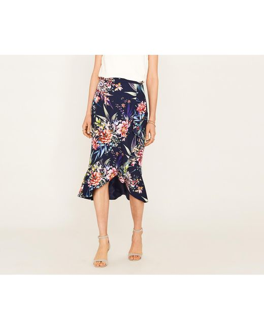 Oasis - Blue Citrus Floral Frill Skirt - Lyst
